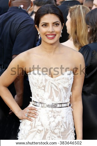 Priyanka Chopra at the 88th Annual Academy Awards held at the Hollywood & Highland Center in Hollywood, USA on February 28, 2016. - stock photo