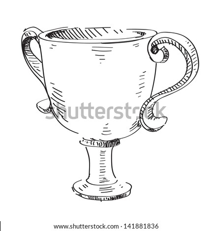 Prize trophy cup icon isolated on white - stock photo