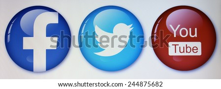 Prizren,Kosovo- January 16, 2015: Social networks, facebook,twitter and you tube on pc screen - stock photo