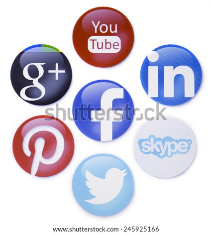 Prizren, Kosovo - January 16, 2015: Social newtorks signs, facebook,pinterest,twitter,you tube,linkedin and other on pc screen - stock photo