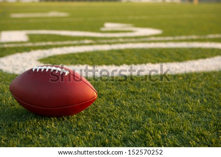 Pro American Football on the Field near the Twenty - stock photo
