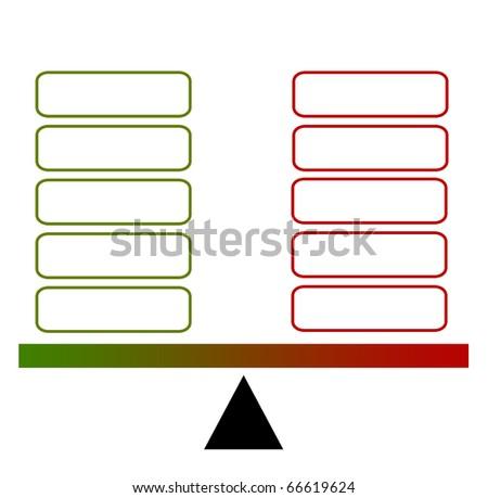 Pro et contra chart - stock photo