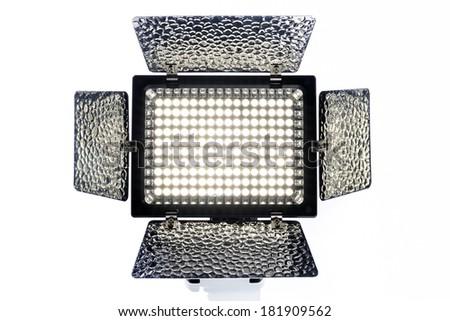Pro LED Video Light  isolated on white background - stock photo