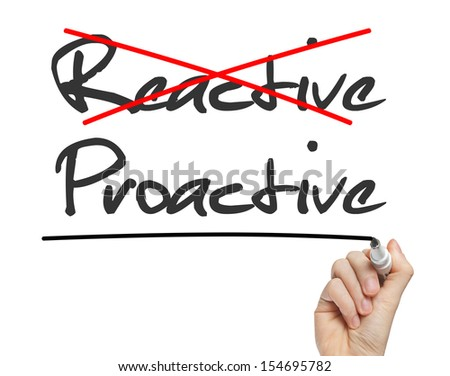 Proactive and Reactive handwritten on whiteboard isolated - stock photo