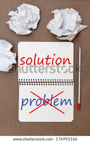 Problem and solution.  - stock photo