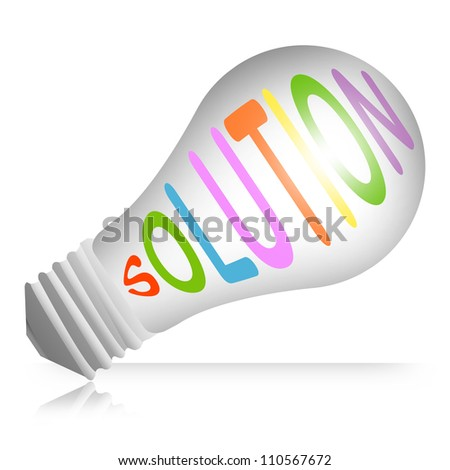 Problem and Solution Concept, Light Bulb With Solution Text  Isolated on White Background