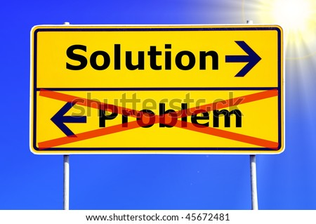 problem and solution concept with yellow road sign - stock photo