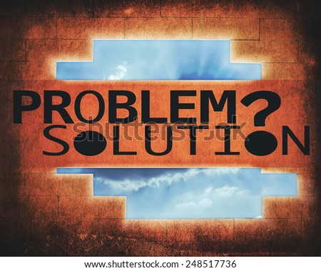 problem and solution with wall and sky background (retro style) - stock photo