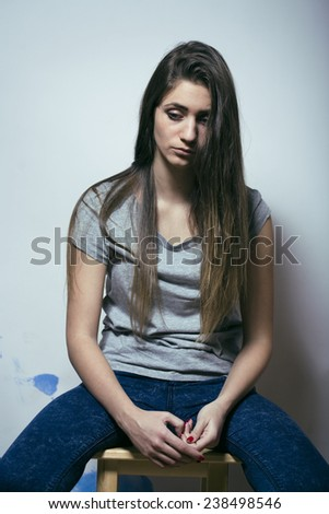 problem depressioned teenage with messed hair and sad face, junky - stock photo