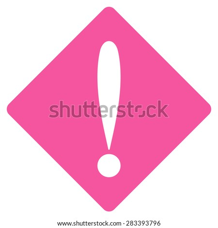 Problem icon from Basic Plain Icon Set. Style: flat symbol icon, pink color, rounded angles, white background. - stock photo