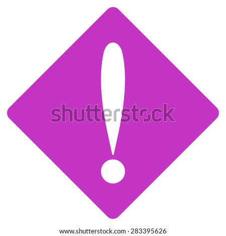 Problem icon from Basic Plain Icon Set. Style: flat symbol icon, violet color, rounded angles, white background. - stock photo