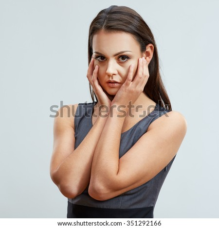 Problem in business. Concept emotional portrait of sadness business woman. Studio isolated portrait. Headache. - stock photo
