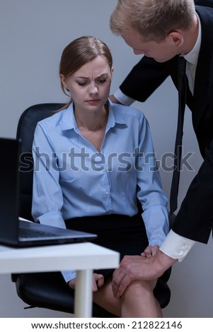Problem of sexual harassment at work, vertical - stock photo