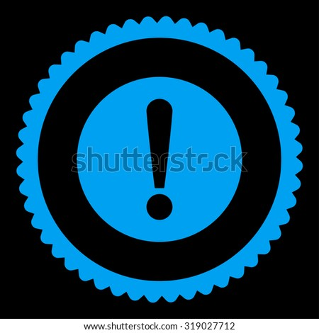 Problem round stamp icon. This flat glyph symbol is drawn with blue color on a black background. - stock photo