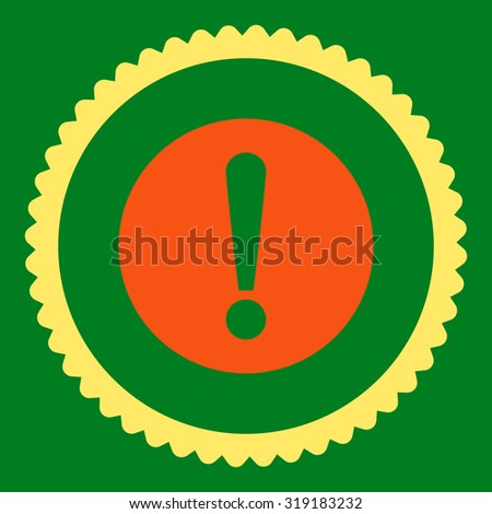 Problem round stamp icon. This flat glyph symbol is drawn with orange and yellow colors on a green background. - stock photo