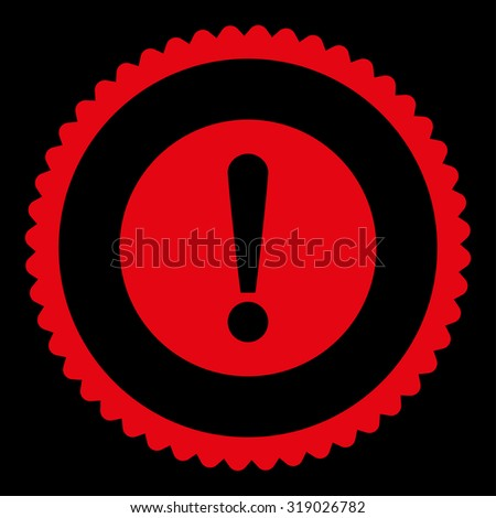 Problem round stamp icon. This flat glyph symbol is drawn with red color on a black background. - stock photo