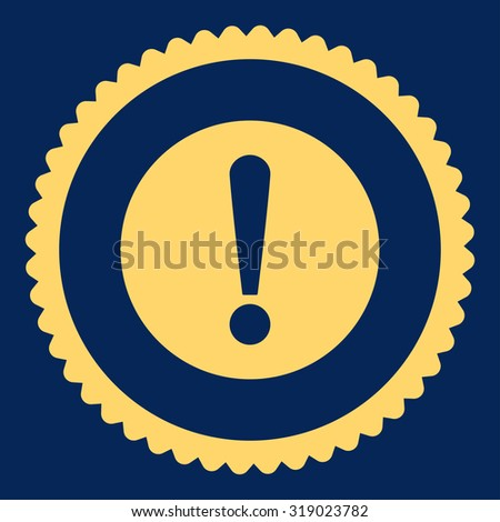 Problem round stamp icon. This flat glyph symbol is drawn with yellow color on a blue background. - stock photo
