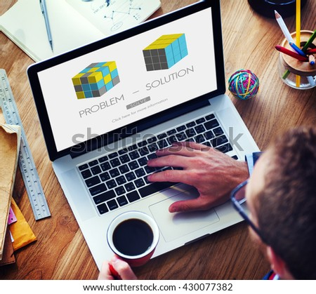 Problem Solution Strategy Trouble Difficulty Ideas Concept - stock photo