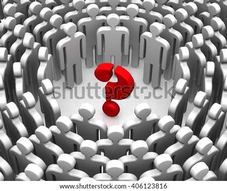 Problem solving. A question mark surrounded by symbolic people. Concept of solving problems. Isolated. 3D Illustration