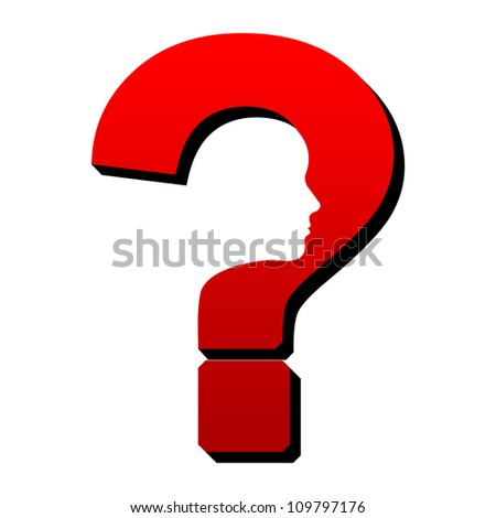Problem Solving Concept - Question Mark With Face - stock photo