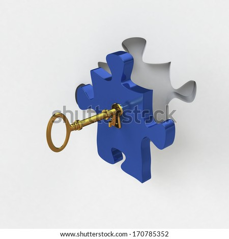 Problem solving or solutions as a jigsaw piece with a golden key - stock photo