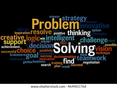Problem Solving, word cloud concept on black background.