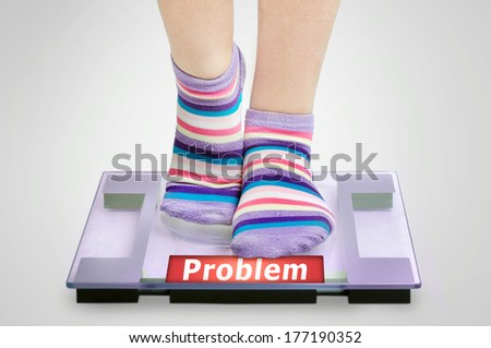 Problem word on grey scales - stock photo