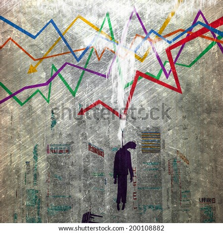Problems trader on the stock exchange, it killed crisis - stock photo