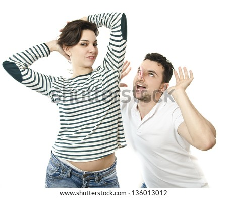 Problems with body odor. Guy girl armpit smells. - stock photo