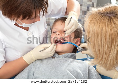 procedure at the dentist close up
