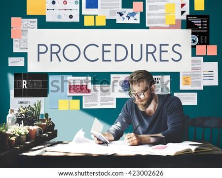 Procedures Process Steps System Concept - stock photo