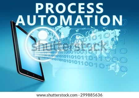 Process Automation illustration with tablet computer on blue background - stock photo