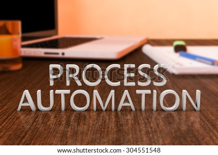 Process Automation Letters On Wooden Desk Stock Illustration