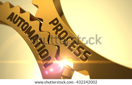 Process Automation on the Mechanism of Golden Metallic Cogwheels. Process Automation on Mechanism of Golden Cogwheels with Lens Flare. Process Automation on Golden Metallic Gears. 3D. - stock photo
