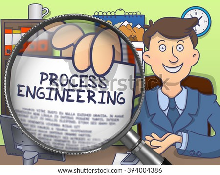 Process Engineering. Officeman in Office Workplace Shows through Magnifier Paper with Concept. Multicolor Doodle Illustration.