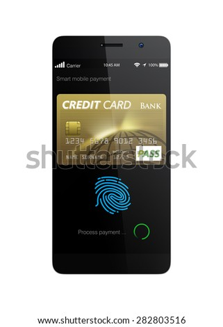 Process internet shopping payment by smart phone's payment app. 3D rendering image with clipping path. - stock photo
