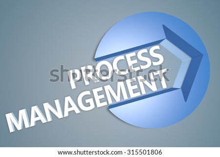 Process Management - text 3d render illustration concept with a arrow in a circle on blue-grey background