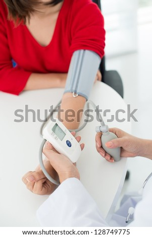Process of blood pressure measuring in hospital