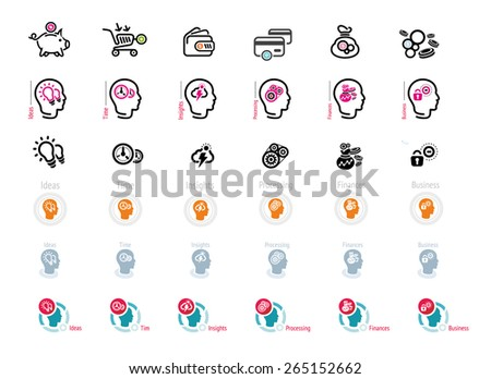 Process of human thinking. Set of silhouette of head, and brain. The concept of intelligence. Idea, business, time, insight, processing, finance. Money icons on white background. Raster version - stock photo