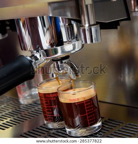 Process of preparation of coffee - stock photo