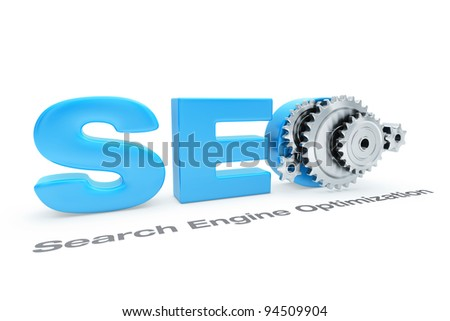 Process of Search Engine Optimization illustrated by gears - stock photo