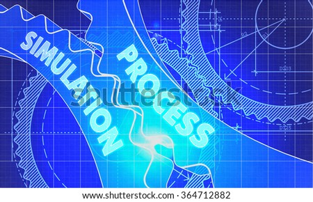 Process Simulation on Blueprint of Cogs. Technical Drawing Style. Illustration with Glow Effect. - stock photo
