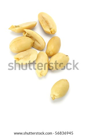 Processed pea nuts isolated on white background - stock photo