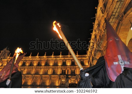 Procession during the Semana Santa in Salamanca, Spain.(this is the Holy week before Easter).At Salamanca's Plaza Mayor. The old city of Salamanca is an Unesco World Heritage site. - stock photo