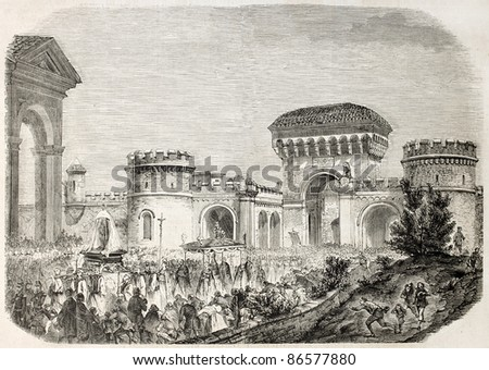 Procession of Our Lady of San Luca, Bologna, Italy. By unidentified author, published on L'Illustration, Journal Universel, Paris, 1860 - stock photo