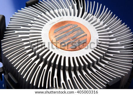 processor cooller close up computer components - stock photo