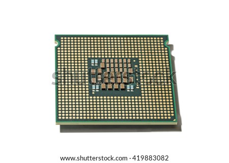 Processor CPU closeup isolated on white background - stock photo