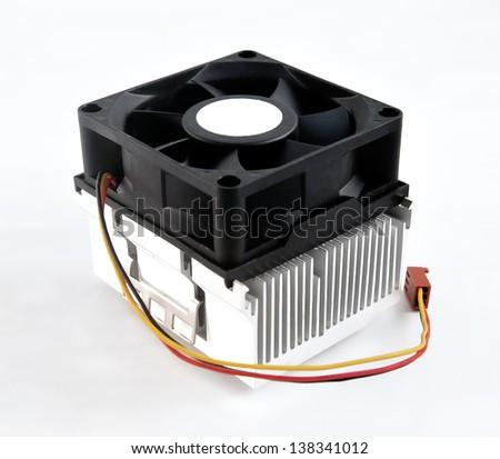Processor heatsink cooler fan on white background - stock photo
