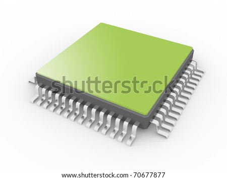 Processor isolated on a white background - stock photo