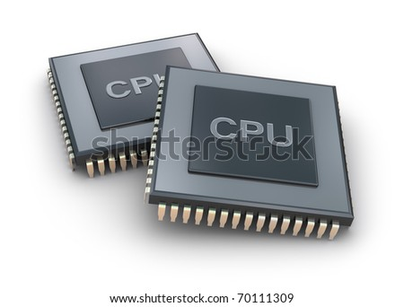 Processor unit 3D concept isolated on white - stock photo
